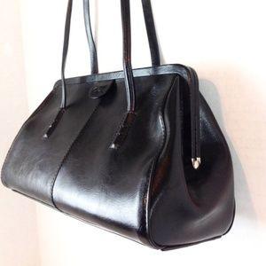 Alfani Black Leather Frame Shoulder Bag -N684&